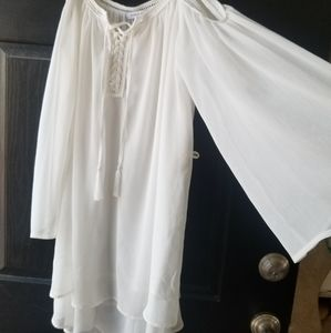 Dresses & Skirts - Pretty white lined summer dress sz L